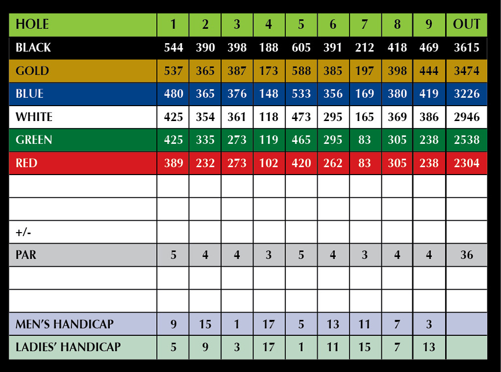 scorecard and course layout seguin valley golf club. Black Bedroom Furniture Sets. Home Design Ideas